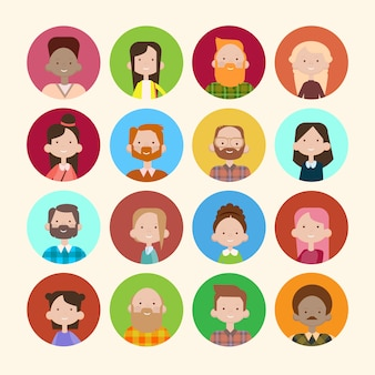 Profile icon avatar image group casual people big crowd diverse ethnic mix race banner