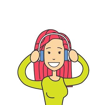 Profile icon female avatar hipster woman wear headphones
