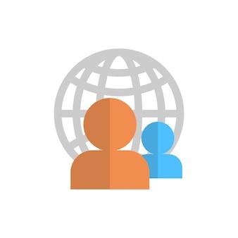 世界のグローブグループ上のプロフィールアイコンユーザーメンバーアバター