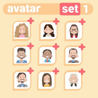 Profile male and female avatar set, man woman cartoon portrait, casual person face collection