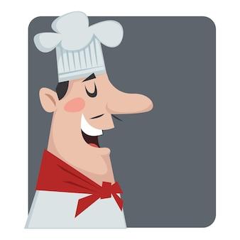 흰 모자를 쓴 남자 요리사의 프로필. 프랑스 또는 이탈리아 요리사의 초상화입니다. 벡터 일러스트 레이 션.