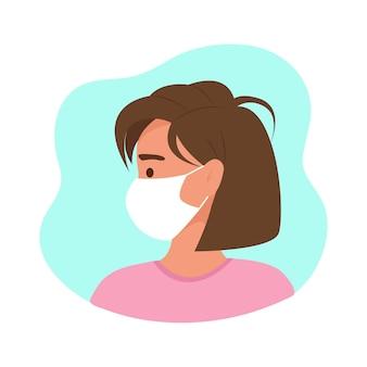보호 의료 마스크를 쓴 여성의 프로필, 평평한 스타일의 벡터 캐릭터.