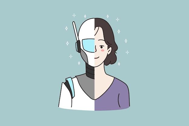 女性の半分人間の半分のロボットの顔のプロファイル