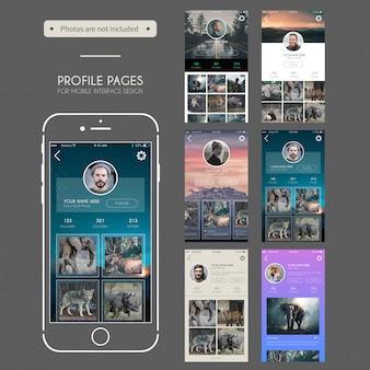 プロファイルページモバイルユーザーインターフェイスデザイン