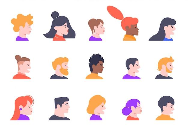 Profile people portraits. face male and female profiles avatars, young people characters heads profile view   illustration icons set. various women and men faces side view