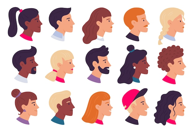 人のポートレートをプロファイルします。男性と女性の顔のプロフィールのアバター、側面の肖像画、頭。人のwebユーザーのアバター、流行に敏感なキャラクターの肖像画。分離フラットベクトルイラストアイコンセット