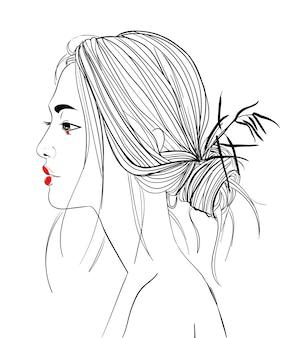 Профиль портрет молодой красивой азиатской женщины