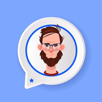 Profile serious beard face chat support bubble male emotion avatar man cartoon icon portrait