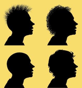 Профильные силуэты мужских голов с разными прическами