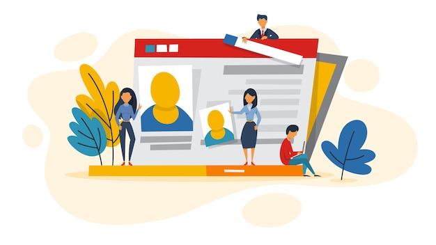 Profile in social network on laptop screen.