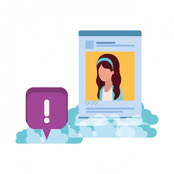 Profile social network woman with speech bubble