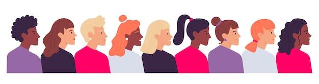 Профильные женские портреты. вид сбоку разнообразных женских голов. герои мультфильмов разной национальности, имеющие разную прическу в виде хвоста, вьющиеся и прямые волосы векторная иллюстрация