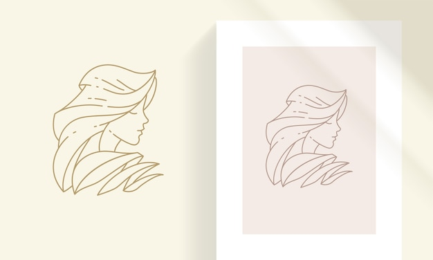 Profile of young female and frame with picture sample designed as elegant minimal object in the line art style