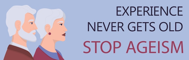 Profiles of senior people. ageism . unfairness and social problem of seniors. aging is living idea. social service advert banner or website header