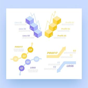 Прибыль и убыток инфографики с иллюстрированными элементами