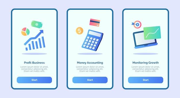 Мониторинг роста учета прибыли бизнеса и денежных средств для пользовательского интерфейса страницы баннера шаблона мобильных приложений