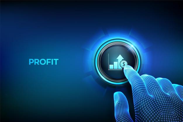 이익 버튼 비즈니스 성장 수익성 또는 투자 수익의 금융 개념 이익 기호 버튼을 누르면 근접 촬영 손가락