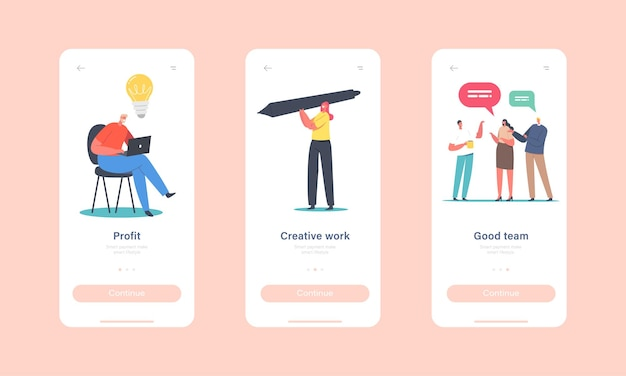 Profit, creative work, good team mobile app page onboard screen template. tiny female character with huge pen, businessman develop idea, brainstorm concept. cartoon people vector illustration