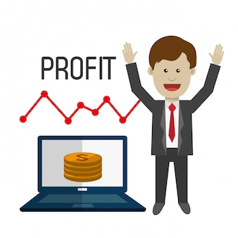 Profit graphics, vector illustration