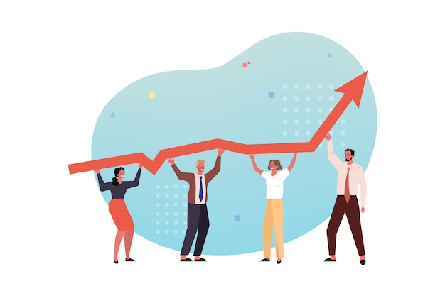 Profit growth, team, collaboration, partnership coworking business concept.