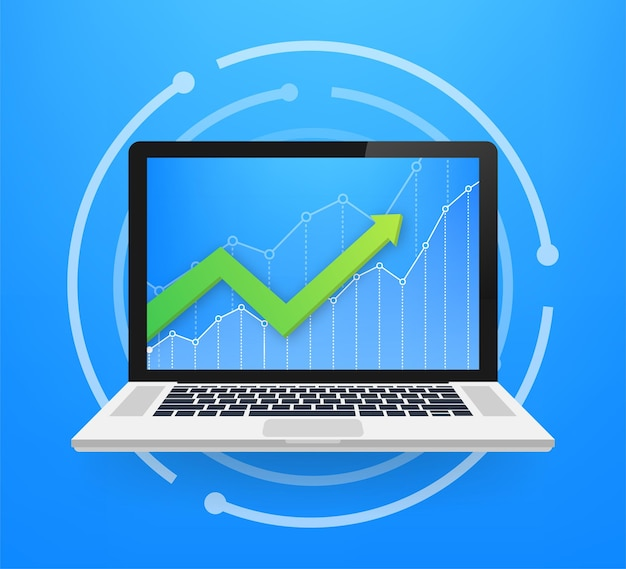 Profit money or budget. cash and rising graph arrow up, concept of business success. capital earnings, benefit. vector stock illustration.