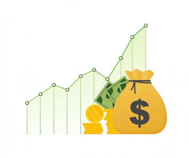 Прибыль деньги или бюджет. наличные деньги и рост граф стрелка вверх, концепция успеха в бизнесе. капитальные доходы, выгода. иллюстрация запаса.