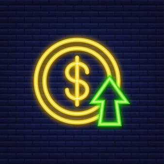 이익 돈 또는 예산. 현금 및 상승 그래프 화살표 위쪽, 비즈니스 성공의 개념. 네온 스타일. 벡터 일러스트 레이 션.