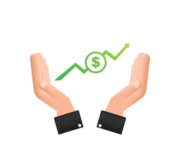 Прибыль в деньгах или бюджете денежные средства и растущий график стрелка вверх в руках выгода от прибыли от капитала