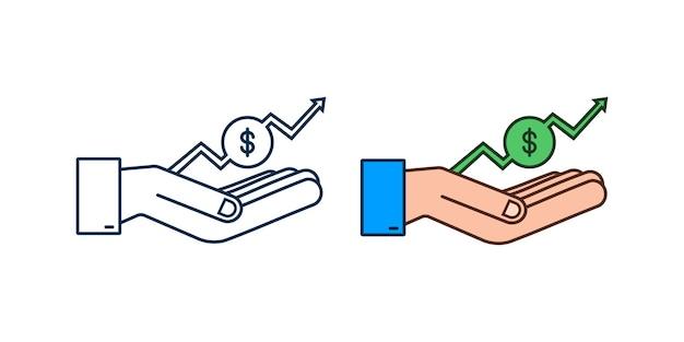 Прибыль в деньгах или бюджете денежные средства и растущий график стрелка вверх в руках прибыль от капитала