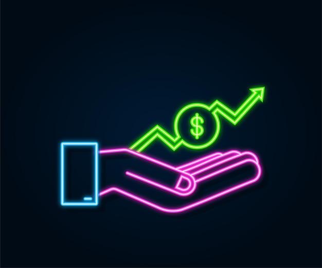 Деньги прибыли или бюджет наличные деньги и растущая стрелка графика вверх в руках