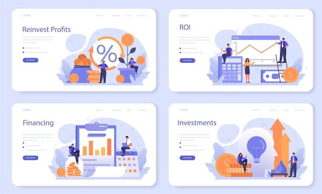 Набор веб-баннеров реинвестирования прибыли.