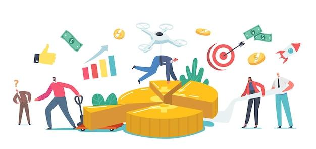利益分配の概念。小さなビジネスマンとビジネスウーマンのキャラクターは、パートナーのお金のシェアと利害関係者の投資家の配当を示す巨大な円グラフに立っています。漫画の人々のベクトル図