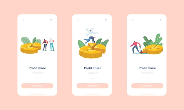 Profit share mobile app page onboard screen template. tiny businessmen and businesswomen characters stand at huge pie chart showing shares of partners concept. cartoon people vector illustration