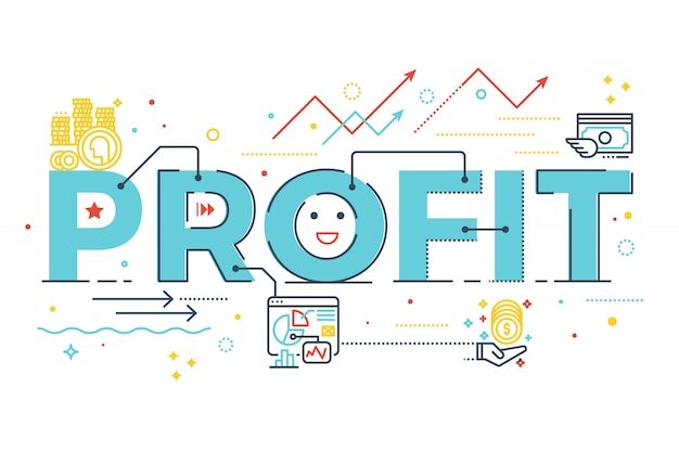 Profit word lettering design illustration with line icons and ornaments in blue theme