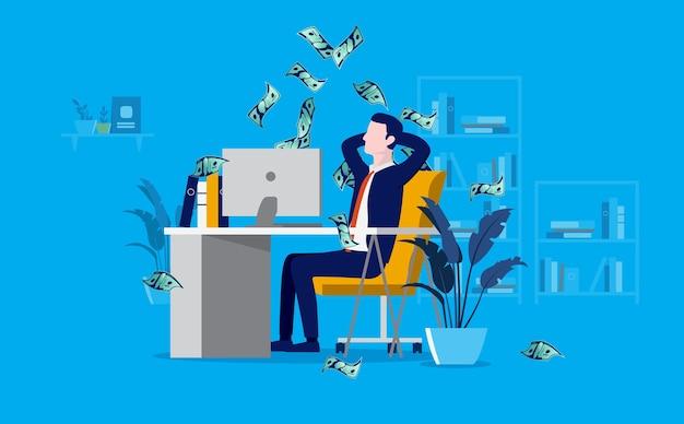 支払いを受けてお金が降り注ぐオフィスで収益性の高いビジネスマン