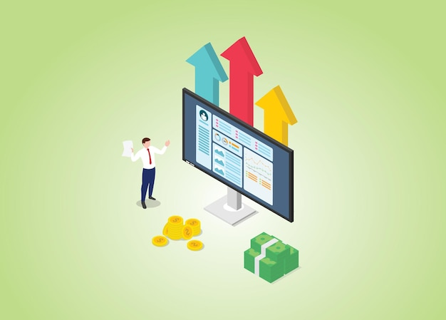 グラフとチャートとモダンなアイソメトリックスタイルで収益性の高いオンラインビジネスの概念