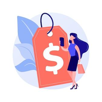 수익성있는 가격 전략. 가격 형성, 프로모션 조치, 정리 쇼핑 아이디어 디자인 요소. 저렴한 제품 광고, 고객 유치.