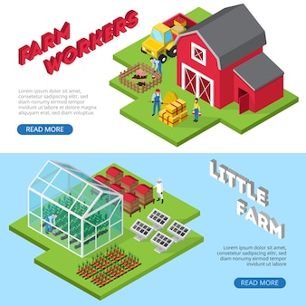 Profitable small agricultural business website banners with farmworkers and farm facilities information