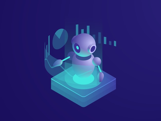 Program analyzing, ai robot, artificial intelligence automated process of data reporting Free Vector