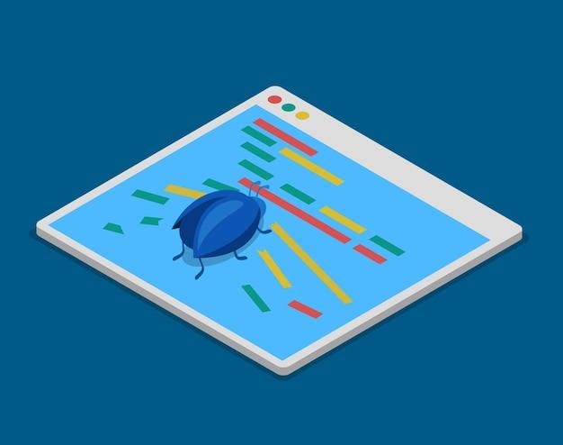Programma codice bug sviluppo tecnologico programmazione codifica piatto isometrico