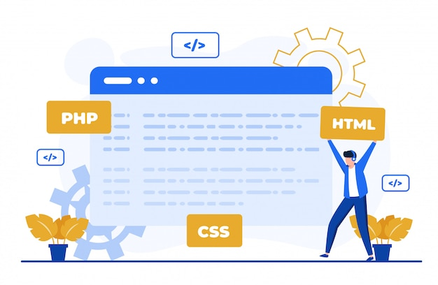 Program coding concept illustration for landing page template