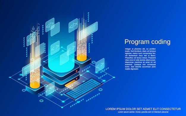プログラムコーディングフラットアイソメトリックベクトルの概念図