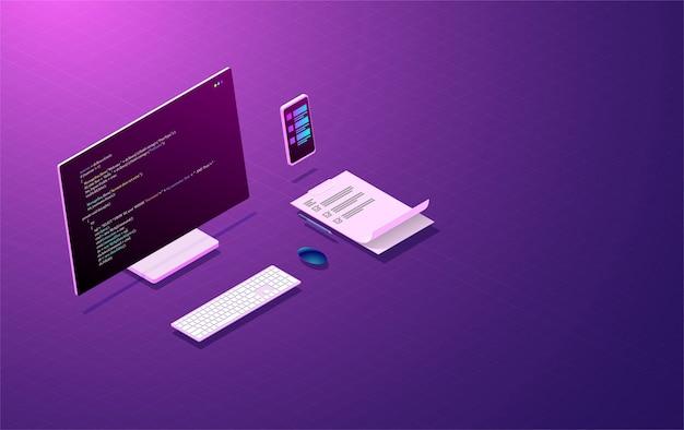 프로그램 개발 및 코딩, 모바일 앱 디자인 컨셉. 프리미엄 벡터