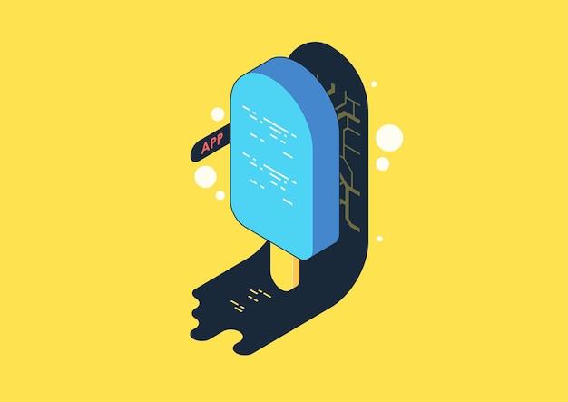 プログラム開発とプログラミングアイソメトリックアイコン、人工知能自動化プロセスビッグデータ処理。