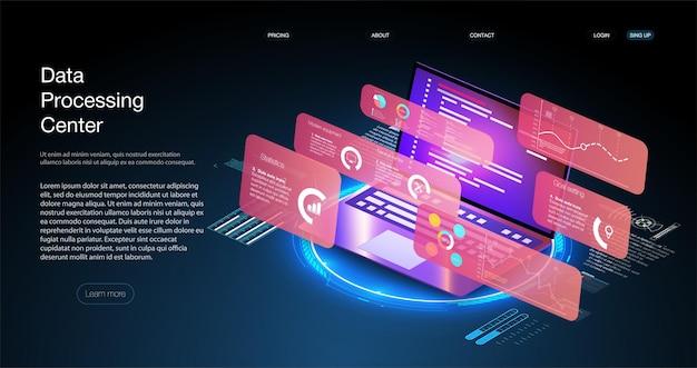 プログラム開発とプログラミングアイソメアイコン、データベース、クラウドコンピューティング、ラップトップ接続の概念。ビッグデータデジタル背景。ネットワークデジタル技術の概念。ビッグデータフロー処理の概念。