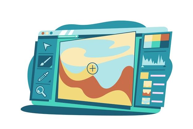 사진 편집 벡터 일러스트 레이 션을위한 프로그램입니다. 컴퓨터 플랫 스타일에서 사진을 수정하기위한 창의적인 인터페이스. 현대 기술과 예술 개념. 외딴