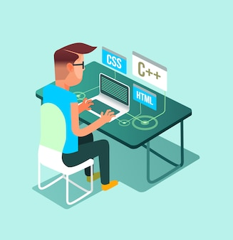 プログラマーフリーランサー労働者の男性キャラクターは、コンピューターのラップトップpcで家に帰ります。フリーランスの仕事