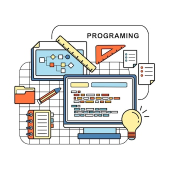Programing concept: web page and laptop in line style