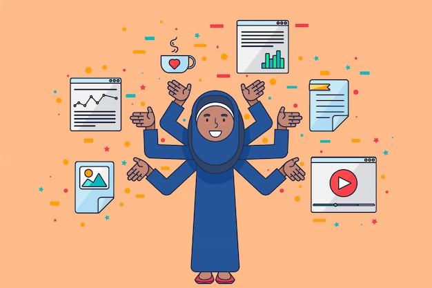직장에서 프로그래머 아랍 여성 서구 전문가 코딩