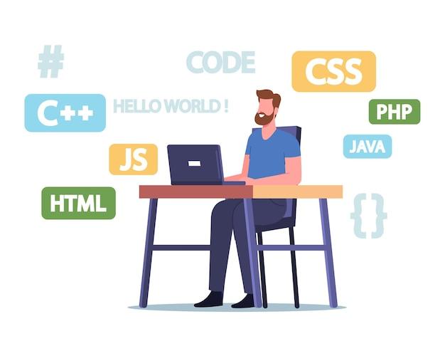 プログラミング言語、webサイト、またはソフトウェアを開発するラップトップでのプログラマーキャラクターの作業。オンライン学習、遠隔教育、コーディングおよびコンピューティングの職業。漫画の人々のベクトル図